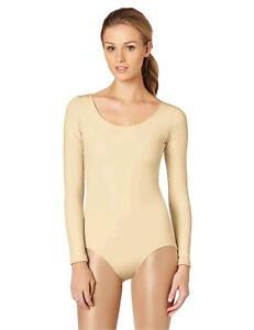 Capezio-Women-039-s-Long-Sleeve-Leotard-Nude-Large-Nude-Size-Large-XYgN
