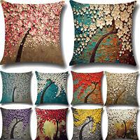 Floral Pillow Case Home Decor Cotton Linen Office Sofa Waist Throw Cushion Cover