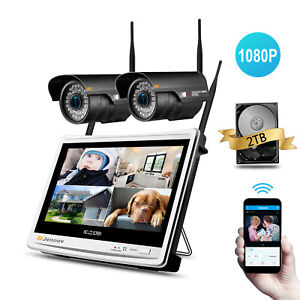 1080P-HD-4CH-Wireless-Security-Camera-System-Outdoor-12-039-039-LCD-WIFI-NVR-CCTV-Kit