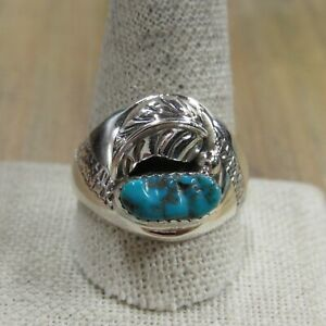 Vintage Sterling Silver Small 3 Nugget Turquoise Ring
