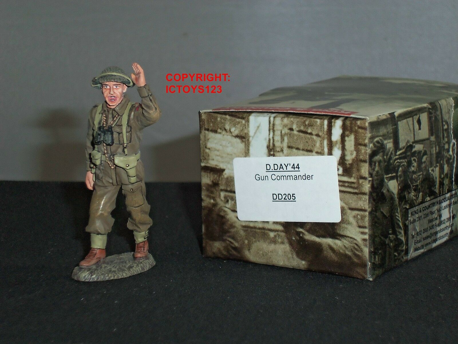 KING AND COUNTRY DD205 D.DAY44 BRITISH GUN COMMANDER METAL TOY SOLDIER FIGURE