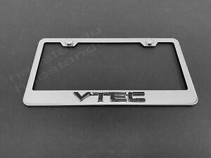 Fit Acura Polished Stainless Steel License Plate Frame with Caps
