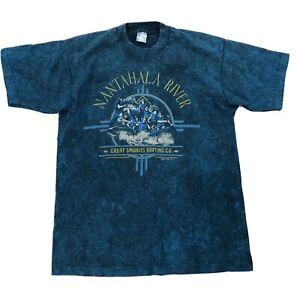 Vtg-Nantahala-River-Great-Smokies-Rafting-Co-Shirt-Large-Blue-Short-Sleeve-Tee