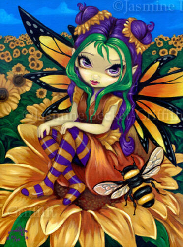 Sitting on Sunflower big eye bee fairy art CANVAS PRINT