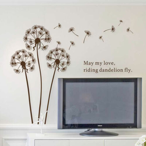 Transparent /& Reusable Brown Dandelion Flowers Wall Stickers Decals Art Decor