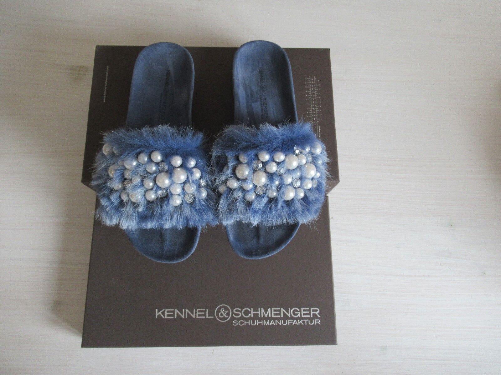 Damen Fell Pantolette mit Strass + Perlen blau K&S bequem blau Perlen Gr.6 (39) a0749e