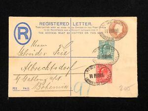 Postal-History-England-Cover-LONDON-to-ALBRECHTSDORF-in-BOHEMIA-1903