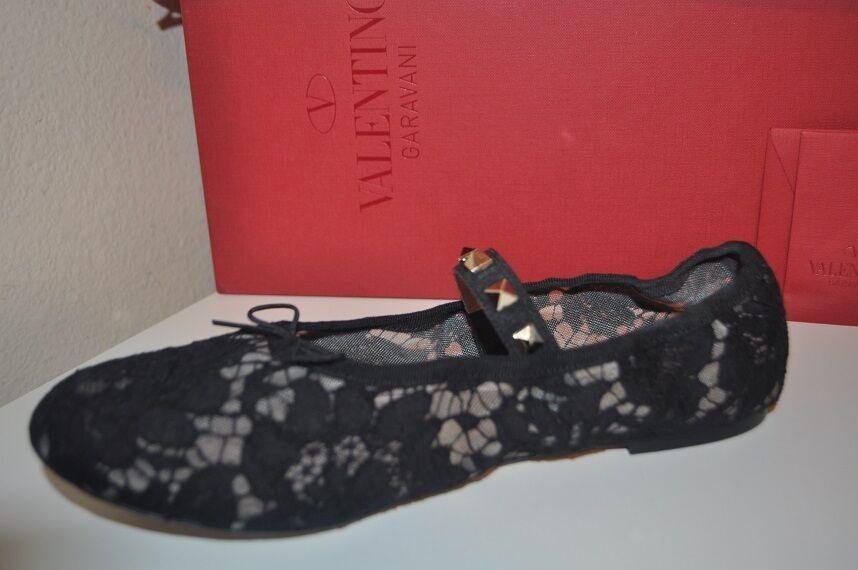 New in Box Valentino Dentelle Ballet Ballet Ballet Plates Chaussure Avec rockstud Rivets & nœud noir 40 10 a753b3
