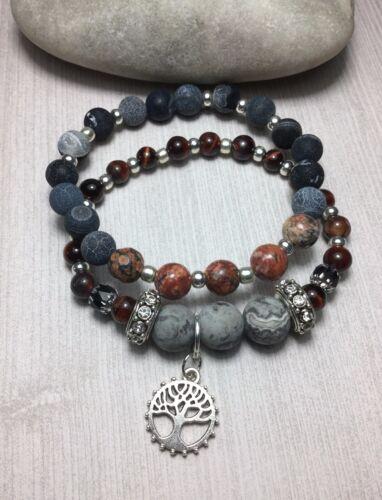 Handmade Bohemian Gemstone Bracelet Set W//Red Tigers Eye Agate Leopard Jasper US