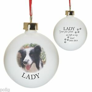 Personalised Photo & Paw Prints Christmas Tree Bauble Xmas Pet ...