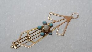 Antique-10k-Yellow-Gold-Lavalier-Pendant-Turquoise-and-Pearl