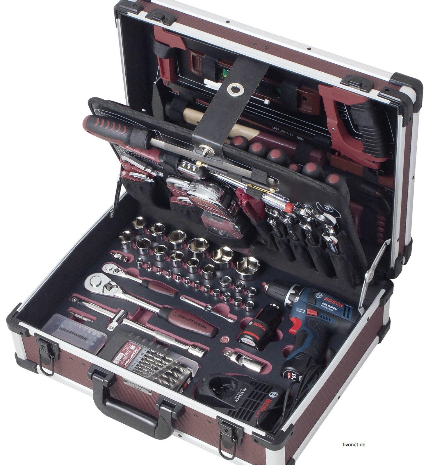 KRAFTWERK 3949 PROFI Werkzeugkoffer 264-tlg m. Bosch Akkuschrauber AluPro Koffer