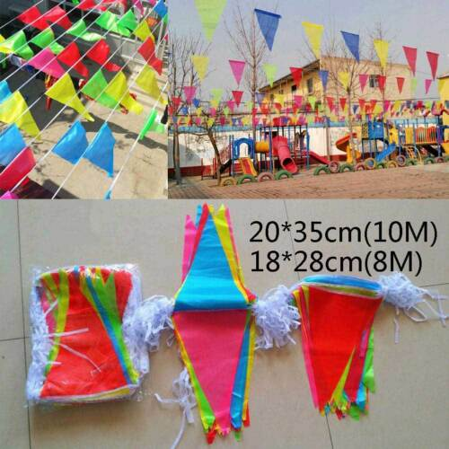 Multicolor Triangle Pennant Banner Bunting Flags Party Grand Opening Decor sale