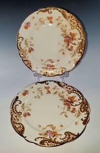 2-AYNSLEY-Bone-China-BREAD-or-TEA-PLATES-Orange-Flowers-Circa-1895