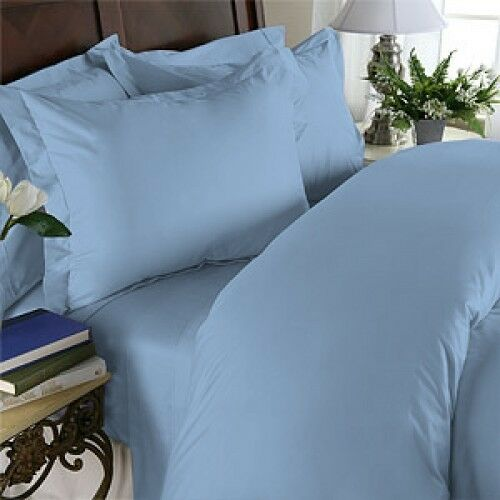 1200 Thread Count 100% Egyptian Cotton Bed Sheet Set 1200 TC QUEEN Blau Solid