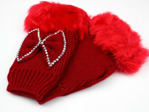 Rhinestone Studs Bling Ribbon Cute Womens Fingerless Gloves Faux Fur