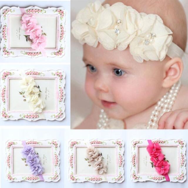 5PCS Baby Girls Chiffon Flower Crystal Elastic Headband Photography  Headbands 1acc91812b8