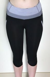 Lululemon-Size-4-Run-A-Marathon-Crop-Black-Grey-Wee-Stripe-Yoga-Pant-Pocket