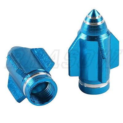 Universal Aluminum Rockets head 2X Blue Motorcycle Wheel Tire Valve Stem Caps