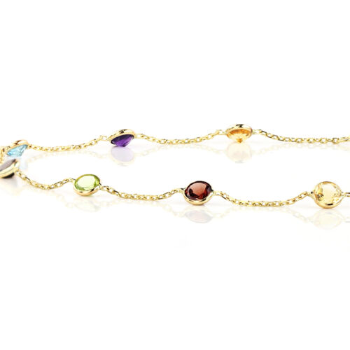 14K Yellow Gold Bracelet With Round Multi-Color Gemstones 7 Inches