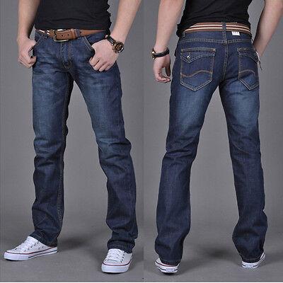 Mens Classical Slim Fit Casual Jeans Long Straight Slim Leg Denim Pants Trousers