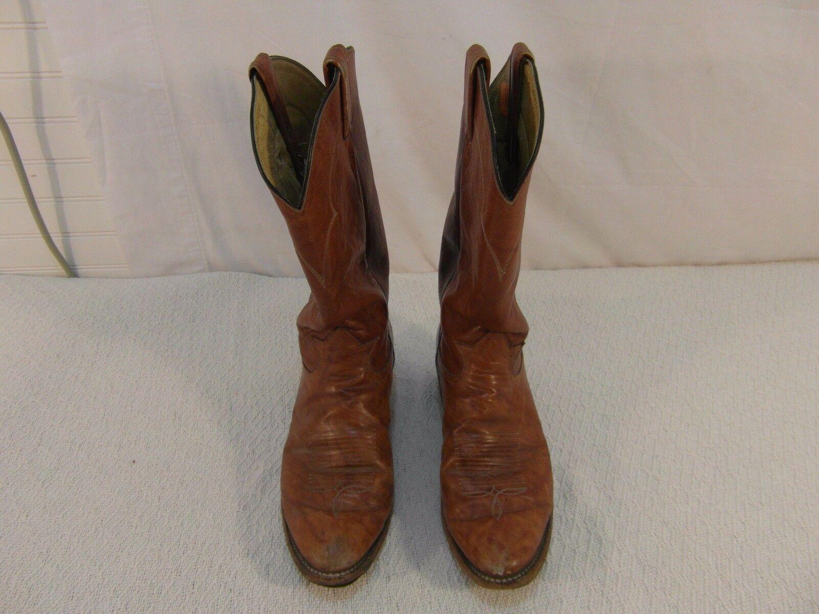 Men's Tony Lama El Paso Authentic Light Brown Leather 10 D Cowboy Boots 33024