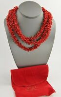 Kjl Qvc Kenneth Jay Lane Imitation Coral Torsade Necklace With Logo Clasp - 17