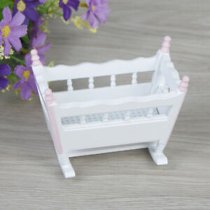 1-12-Dollhouse-miniature-baby-cradle-rocking-bed-bedroom-furniture-DD