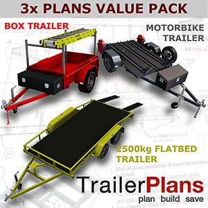 Trailer-Plans-2500kg-FLATBED-BOX-amp-MOTORBIKE-TRAILER-PLANS-Plans-on-CD-ROM