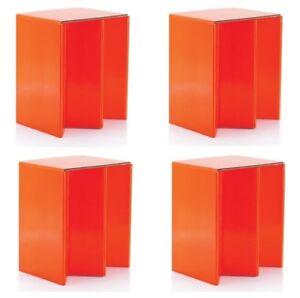 4-Paquet-De-Pliable-Carton-Portable-Siege-Chaises-Orange
