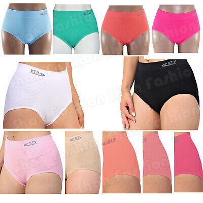 New 6 Pack Ladies STV Seamless Slimming Pants Bum Tummy Control Briefs Knickers