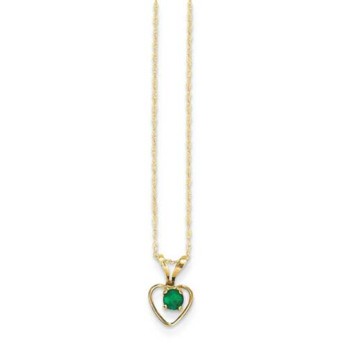 "14K Yellow Gold 3mm Emerald Birthstone Heart Necklace 15/"" Madi K Kid/'s Jewelry"