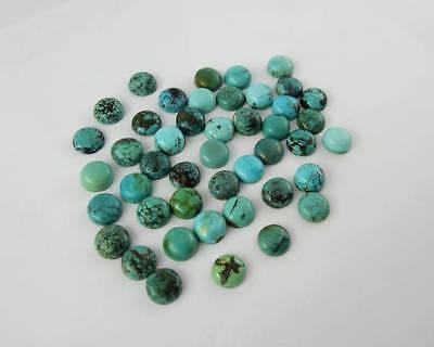 Natural Tibetan Turquoise 6X6 mm Round Cabochon Loose Gemstone AB01