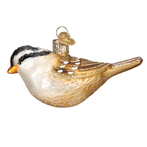 Old-World-Christmas-WHITE-CROWNED-SPARROW-16124-N-Glass-Ornament-w-OWC-Box