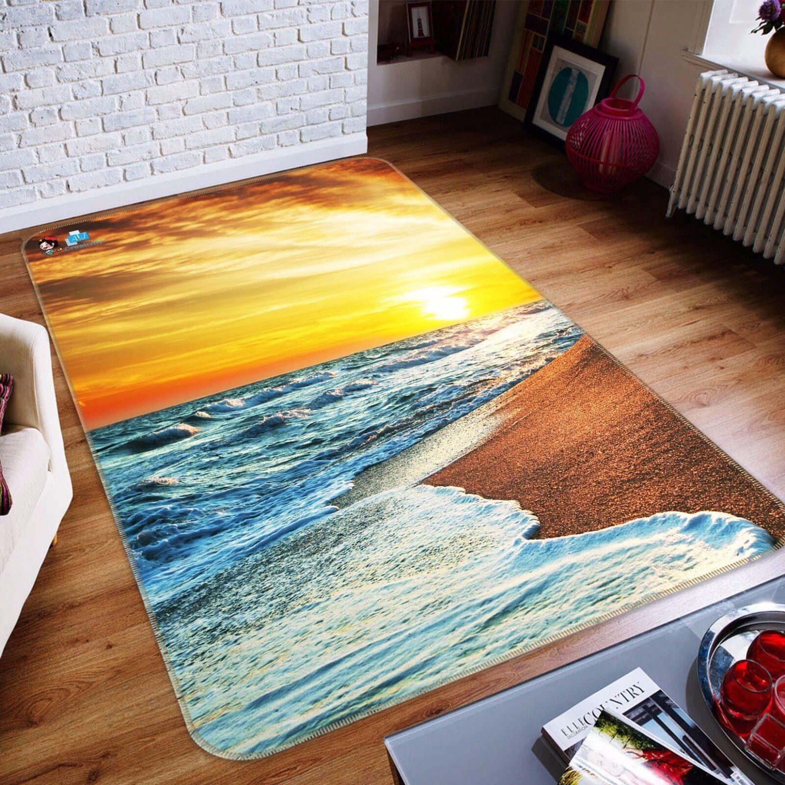 3D le onde tramonto 426 tappetino antiscivolo tappeto camera Tappetino Qualità Elegante foto Tappeto UK