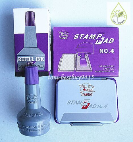 Stamp Pad VIOLET Color Permanent Water Proof BEST Quality FREE Extra Ink Refill