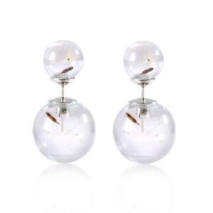 a9b21254d Women Ladies Double Sided Dandelion Glass Ball Ear Stud Earrings Ear ...