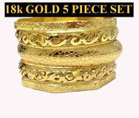 Women's 18k Gold 5piece Set Multi-pattern 8 Bangle Bracelet D177