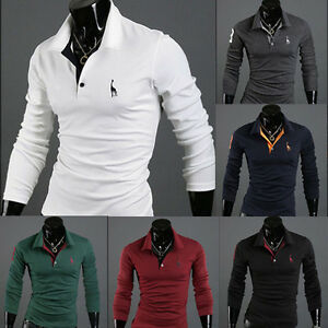 Fashion-Men-039-s-Slim-Fit-Casual-Long-Sleeve-POLO-Shirt-T-shirt-Tee-New-Tops-Blouse