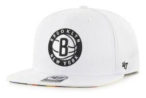 BROOKLYN NETS NBA WHITE FLAT BILL SNAPBACK CITY EDITION CAP HAT NEW! '47 BRAND