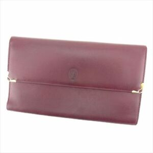 Cartier-Wallet-Purse-Trifold-Mastline-Red-Woman-unisex-Authentic-Used-T7270