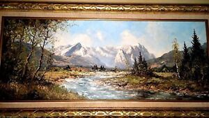 Vintage-Painting-Oil-By-Kurt-Moser-Wettersteingebirge-Eastern-Alps-Zugspitze