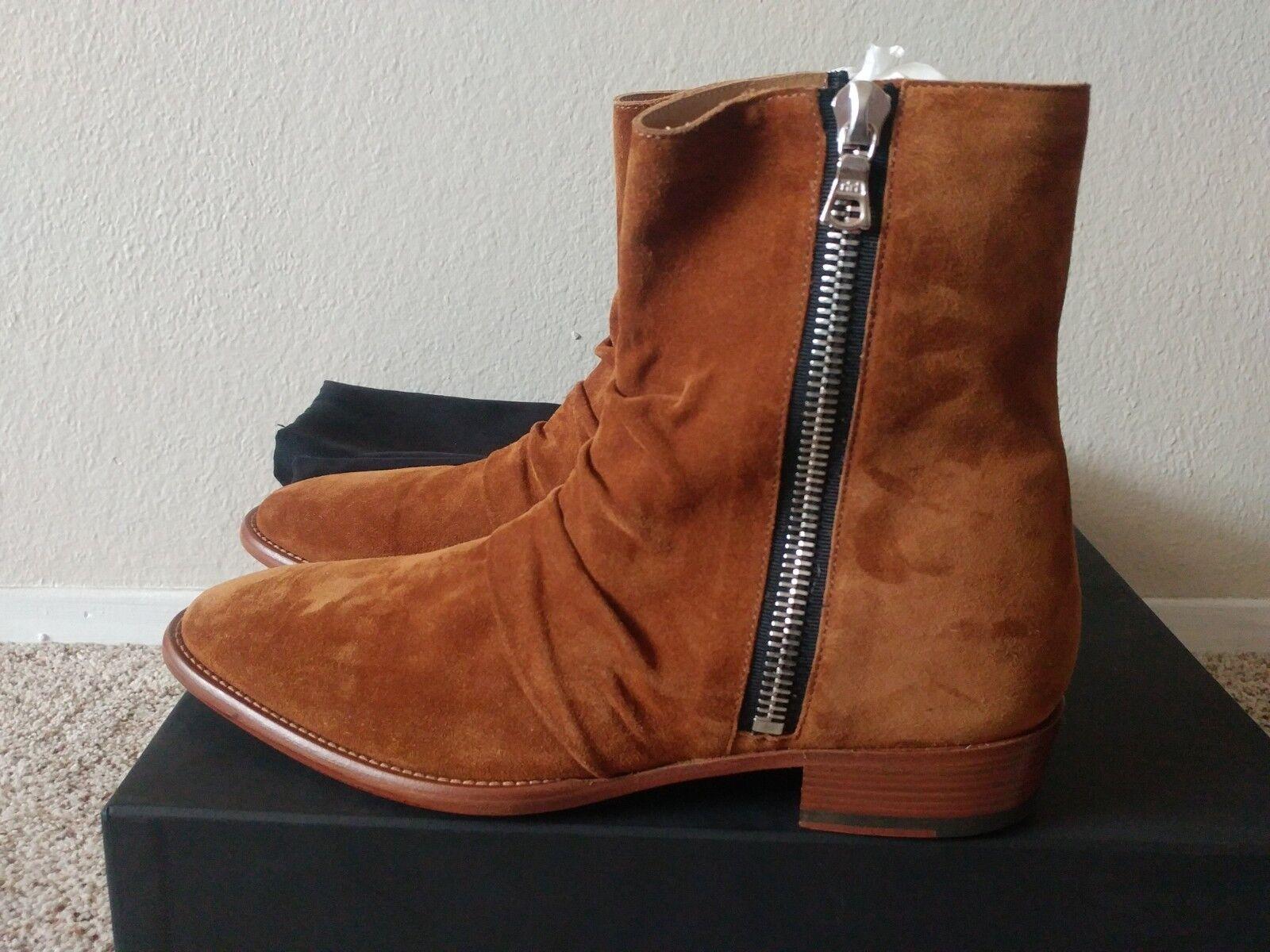 AMIRI Skinny Stack Marronee Leather Suede stivali stivali stivali SZ EU 40 US 7 2b405f