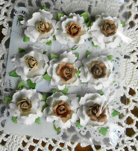 COTTAGE-BLOSSOM-27mm-CHOCOLATE-x-9-Mixed-colour-Flowers-PAPER-Prima