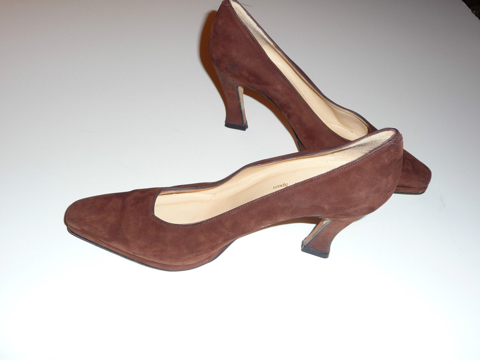 Sacha London braun braun braun Suede Pumps Heels Flarot Heel 6.5 B Made in Spain EUC 75badb