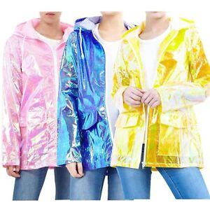 Womens-Holographic-Waterproof-Zipped-Neon-Festival-Jacket-Mac-Parka-Raincoat
