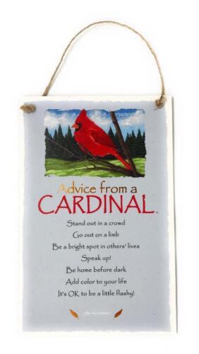 "Advice from a Cardinal Bird Novelty Inspirational 5.5/""x8.5/"" Wood Plaque Sign"