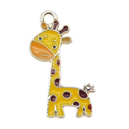 12-pack Enamel Cute Giraffe Animal Charm Metal Gold Pendant Findings 27x15mm