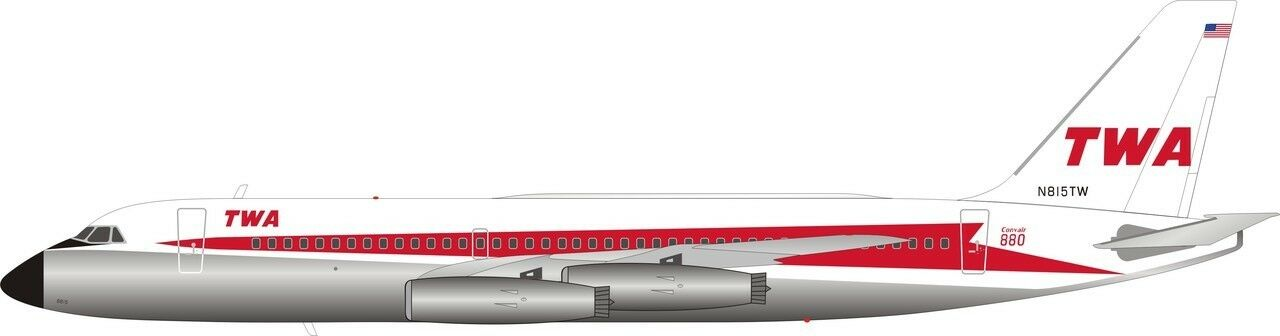Inflight 200 IF880TW0119P 1/200 Twa Convair Cv-880 N815tw Lucidato con Supporto