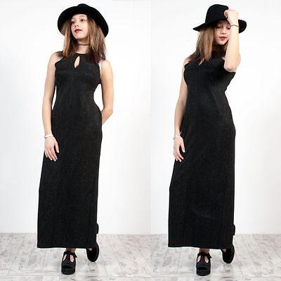 WOMENS VINTAGE 90'S SILVER STRIPED MAXI LENGTH KEY HOLE NECKLINE GRUNGE DRESS 12